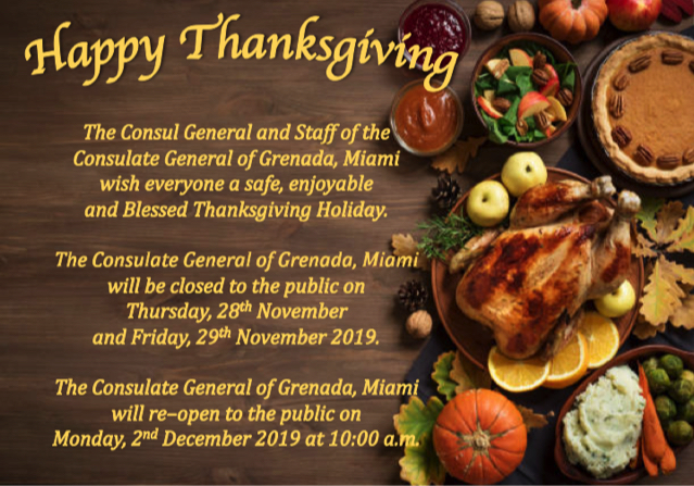 Happy Thanksgiving! The consulate will be closed to the public on Thursday, November 28th, and Friday, November 29. The consulate will re-open on Monday, December 2 at 10:00 am